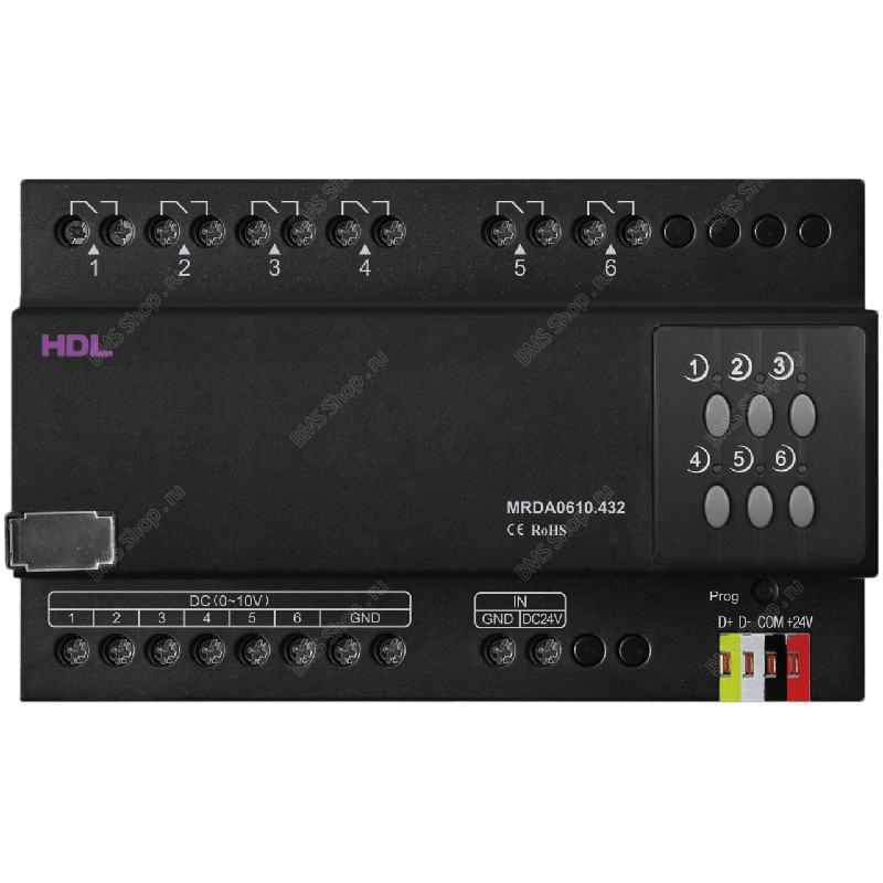 6 встроенных каналов регулирования 0-10V и 6 встроенных 10A реле.