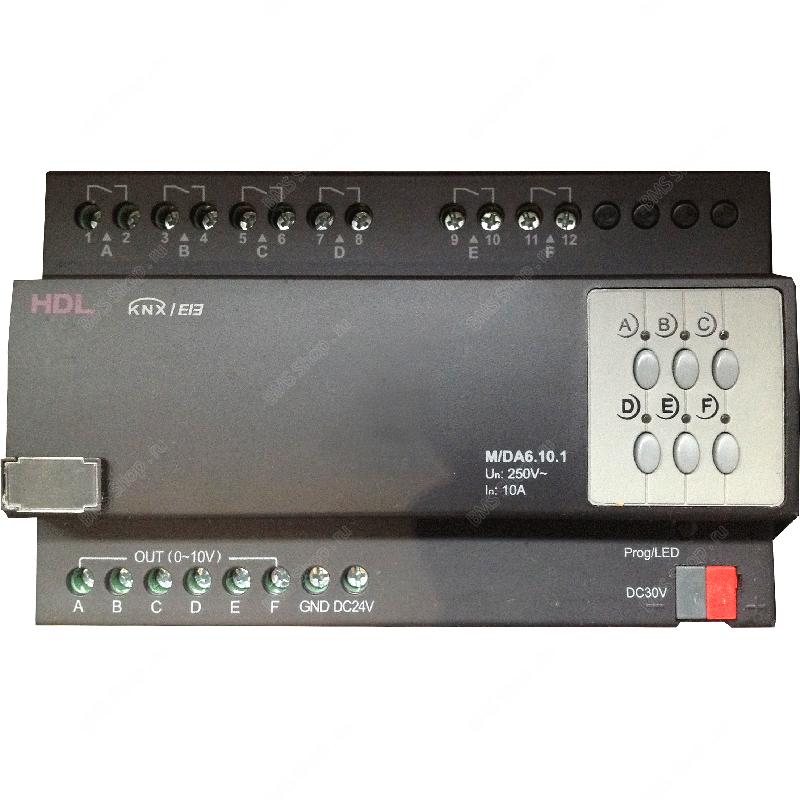 Диммер 6-канальный 10А на канал для управления балластами 0-10V